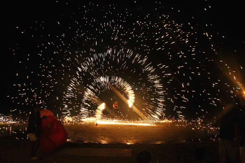 Koh Tao, Sai Ree Beach, Spectacle de feu